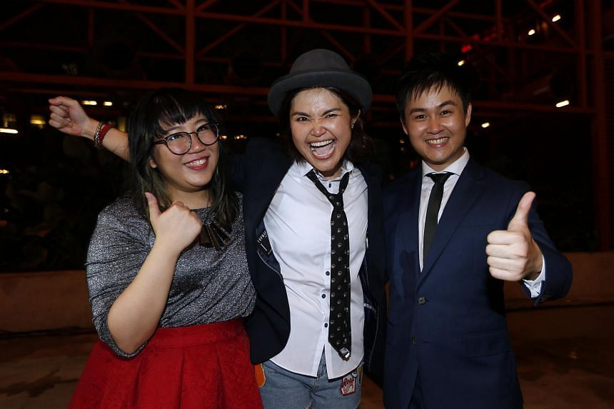 (Left to right) Liu Jia Hui, 22, Olinda Cho, 35 and Ng Chee Yang, 26, beat nine other hopefuls to represent Singapore at China Super Vocal 2016.