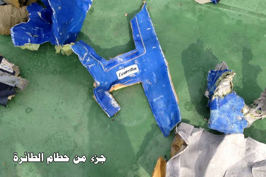 Recovered debris of the EgyptAir jet that crashed in the Mediterranean Sea is seen in this handout image.