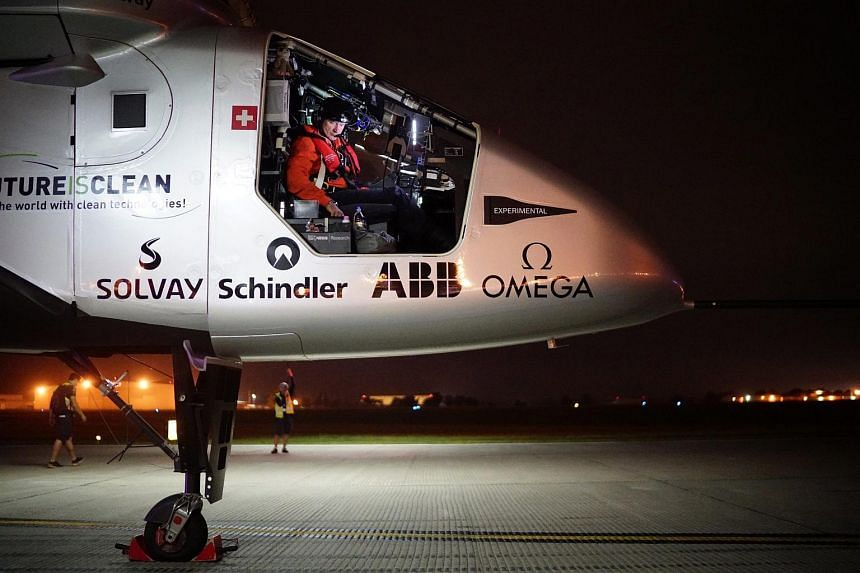 The Solar Impulse 2 preparing for take-off in Tulsa, Oklahoma, on May 21, 2016.