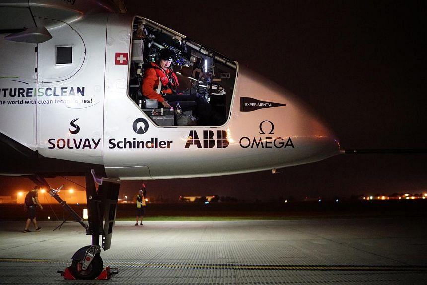 The Solar Impulse 2 preparing for take-off in Tulsa, Oklahoma, on May 21, 2016.