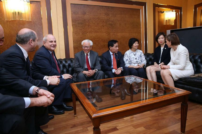 President Tony Tan Keng Yam (centre) with Italy's Deputy Foreign Minister Mario Giro seated to his left. To President Tony Tan's right are (from left): Singapore's Non-Resident Ambassador to the Italian Republic Ow Chio Kiat, Mrs Mary Tan, Mrs Kather