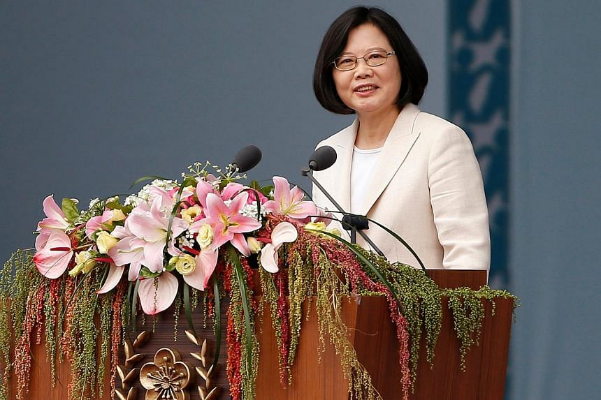 Taiwanese President Tsai Ing-wen addresses the public during an inauguration ceremony in Taipei.