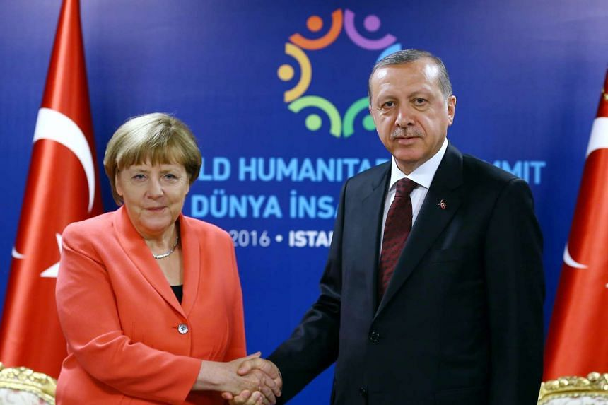 German Chancellor Angela Merkel (left) and Turkish President Tayyip Erdogan meeting during the World Humanitarian Summit in Istanbul, Turkey, on May 23, 2016.