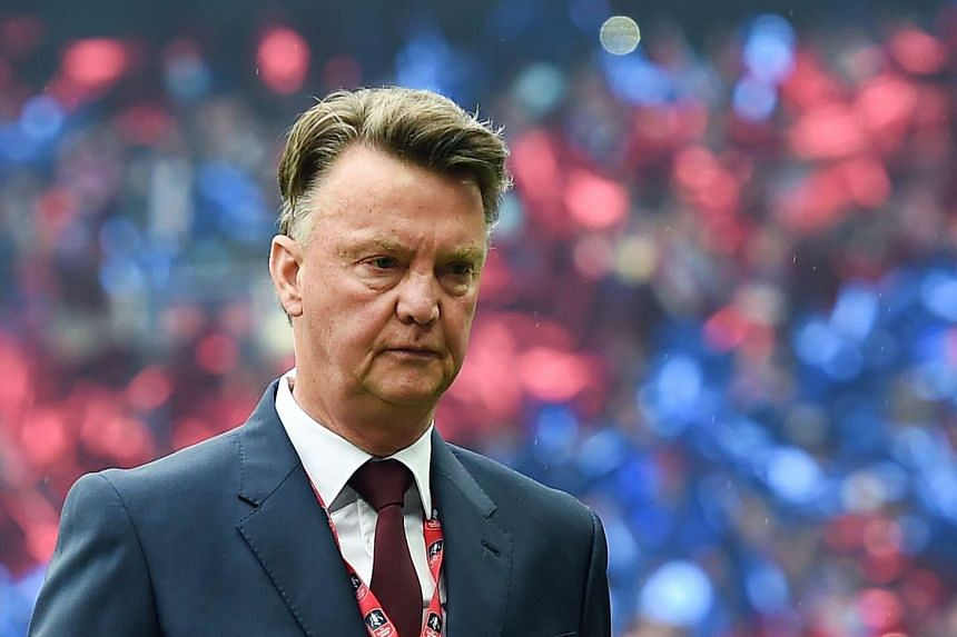 Manchester United manager Louis van Gaal on the pitch prior to the English FA Cup final between Crystal Palace and Manchester United in London, on May 21, 2016.