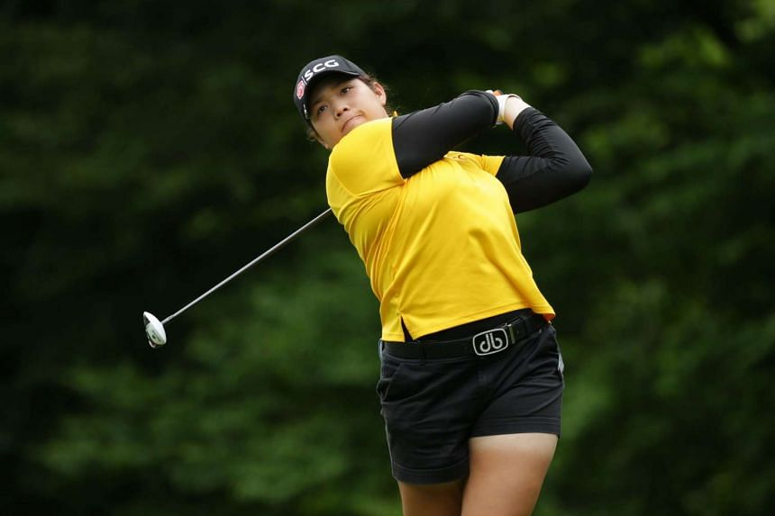 Ariya Jutanugarn of Thailand hits her tee shot on the fourth hole during the third round of the Kingsmill Championship presented by JTBC on the River Course at Kingsmill Resort on May 21, 2016 in Williamsburg, Virginia.