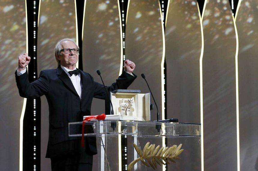 "Director Ken Loach, Palme d'Or award winner for his film ""I, Daniel Blake"", reacts during the closing ceremony of the 69th Cannes Film Festival in Cannes, France, on May 22, 2016."