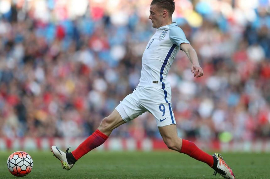 England's striker Jamie Vardy controls the ball during the friendly football match between England and Turkey at the Etihad Stadium in Manchester, north west England, on May 22, 2016.