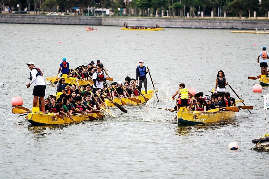 Students from Grace Orchard School enjoying dragon-boating with volunteers from the YMCA of Singapore. Voluntary welfare organisations and special education schools also organise adventure camps.