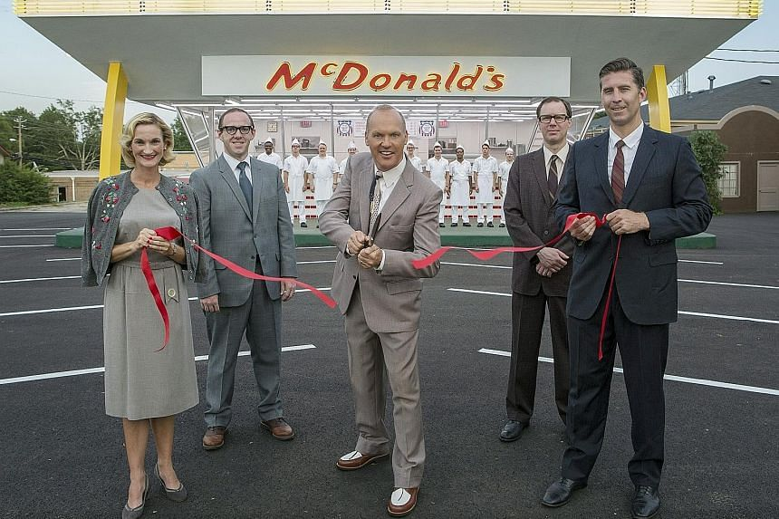 Michael Keaton (centre) as McDonald's founder Ray Kroc in The Founder.