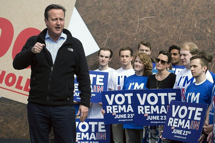 British Prime Minister David Cameron giving a speech in Witney, Oxfordshire, in support of the campaign for Britain to remain in the EU. If the referendum were held today, about 52 per cent of the electorate would reject the Brexit option, but public
