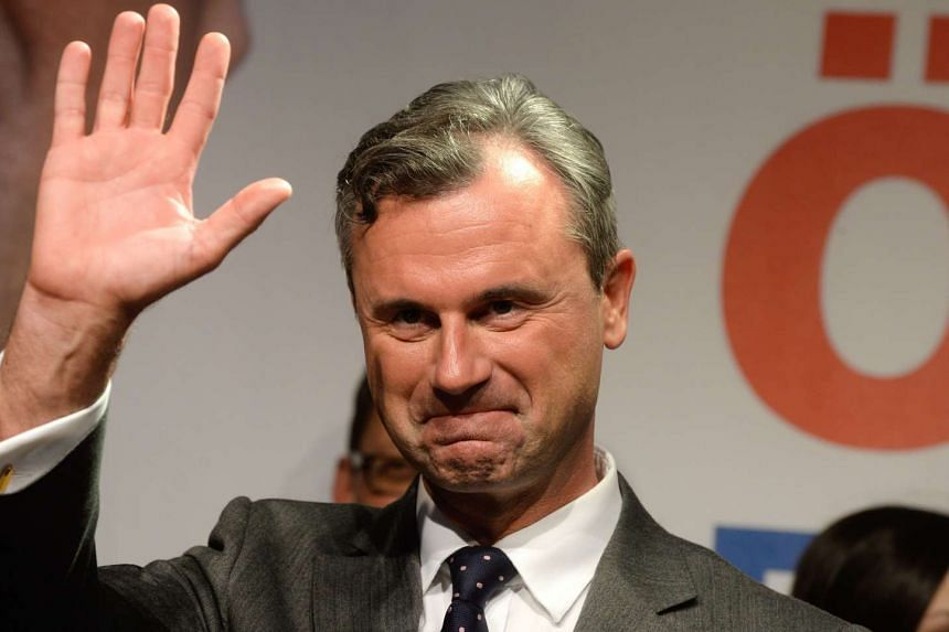 Freedom Party candidate Norbert Hofer reacts during an election party after the second round of the Austrian Presidential elections, on May 22, 2016, in Vienna.