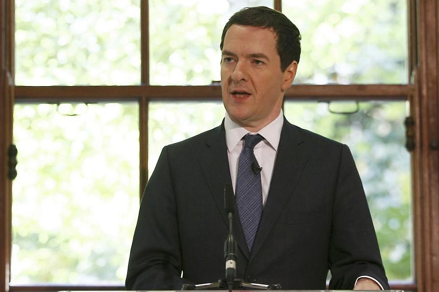 UK Finance Minister George Osborne delivering a speech, prior to a press conference, at the Treasury in London, Britain, on May 13, 2016.