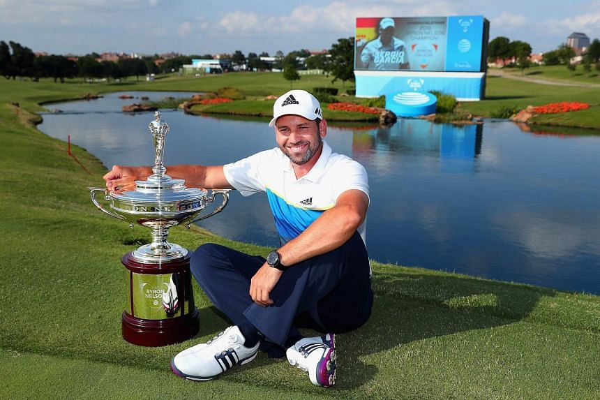 Sergio Garcia posing with the trophy after winning the AT&T Byron Nelson on May 22, 2016.