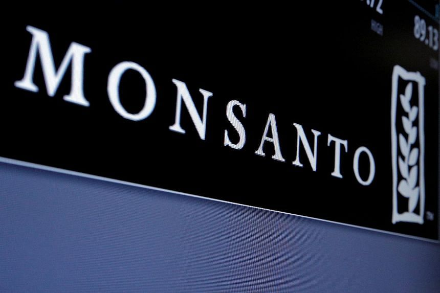 The Monsanto logo is displayed on a screen where the stock is traded on the floor of the New York Stock Exchange on May 9, 2016.