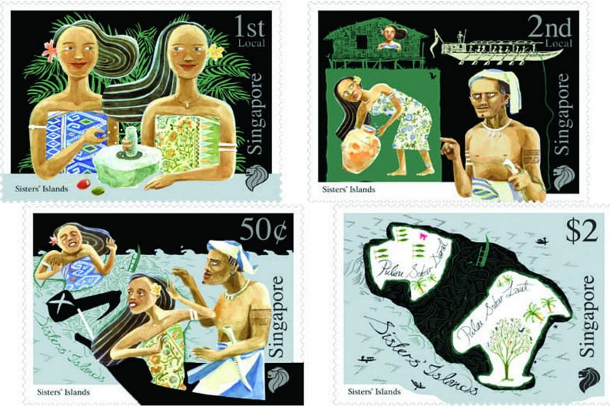 SingPost's Myths and Legends stamp set featuring the Sisters' Islands folktale.