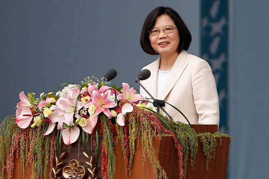 Taiwan's President Tsai Ing-wen addressing the crowd during an inauguration ceremony in Taipei, Taiwan on May 20, 2016.