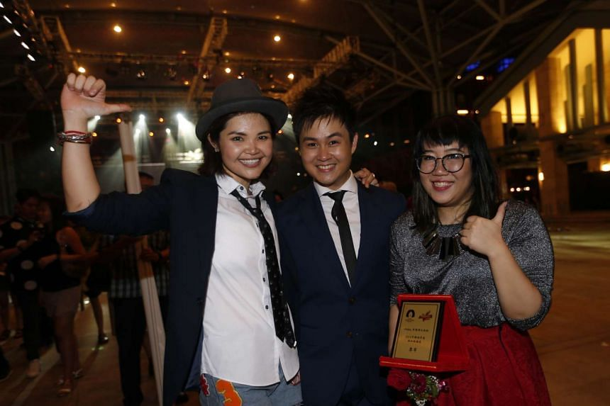 (From left) Former Singapore Idol's Olinda Cho, Campus Superstar champion Ng Chee Yang and graphic designer Liu Jia Hui will represent Singapore in the popular singing contest, China Super Vocal 2016.