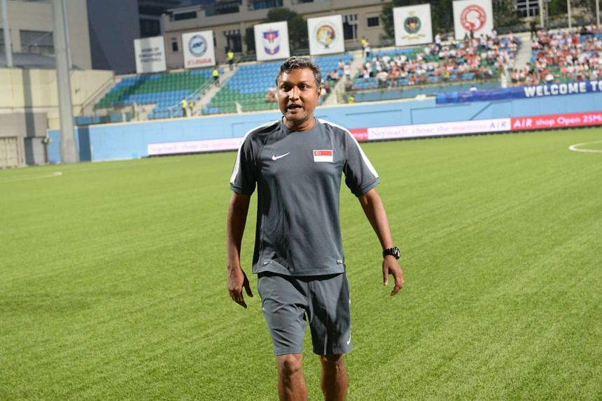 Singapore's assistant coach V Sundramoorthy at the International friendly match between Singapore and Myanmar, held at Jalan Besar Stadium on March 24.