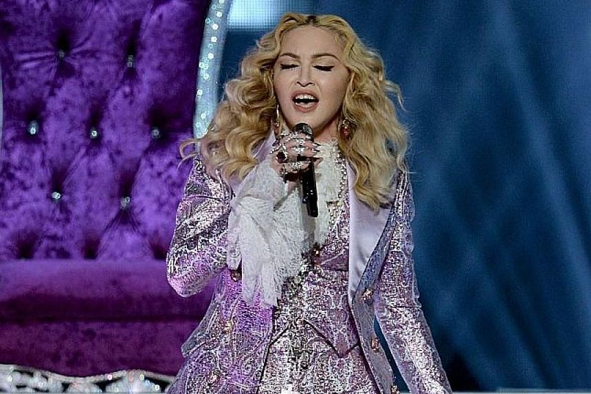 Madonna performing a tribute to Prince during the Billboard Music Awards in Las Vegas, Nevada, on Sunday.