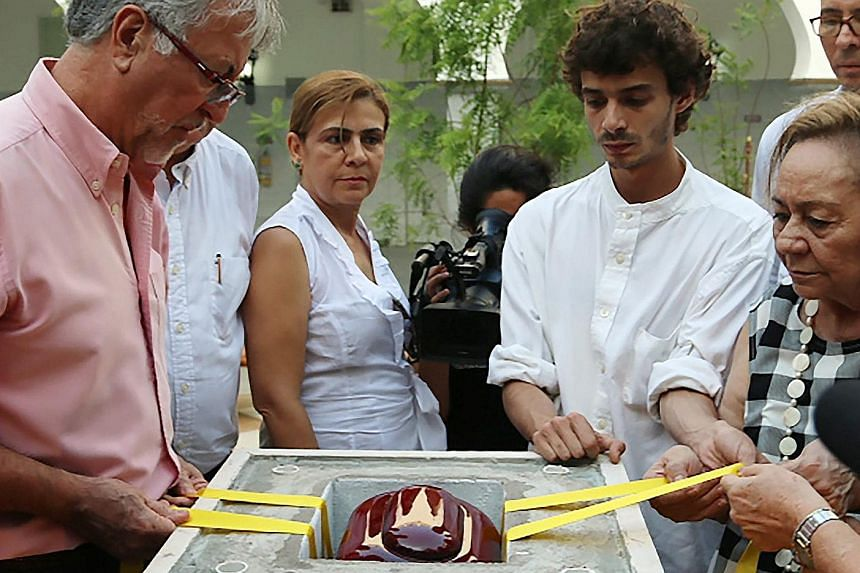 Relatives and friends of author Gabriel Garcia Marquez depositing his ashes in a memorial erected in his honour in Cartagena, Colombia.