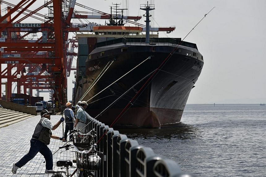Japan's exports fell 10.1 per cent in April from a year earlier, while imports shrank more than 23 per cent, latest data showed.
