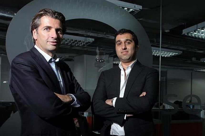 8 Securities chairman Mathias Helleu (left) and chief executive Mikaal Abdulla are aiming to expand into Australia, Indonesia, the Middle East, India and the US as well as Singapore. 8 Securities chairman Mathias Helleu (left) and chief executive Mik