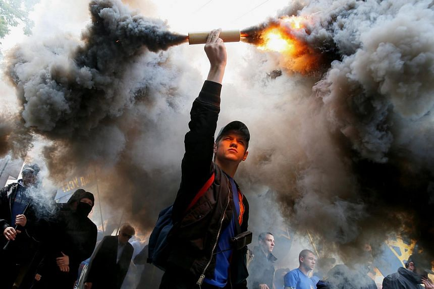Members of a protest against local elections in pro-Russian rebel-held areas of eastern Ukraine under the Minsk peace agreement, in Kiev, Ukraine on May 20.