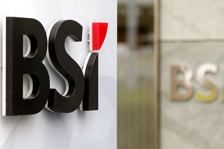 The logo of Swiss private bank BSI seen at a branch office in Zurich on March 31, 2015.