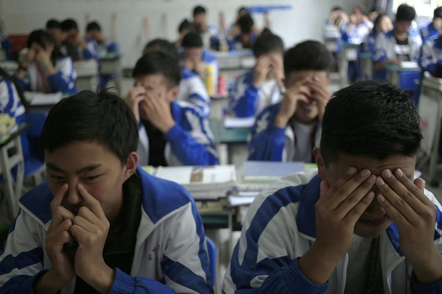 Students in a classroom of the Ganzi Vocational and Technical College in Sichuan Province, China on May 17.