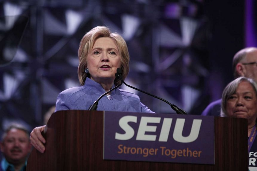 Hillary Clinton speaks at the Service Employees International Union (SEIU) 2016 International Convention on May 23, 2016, in Detroit, Michigan.