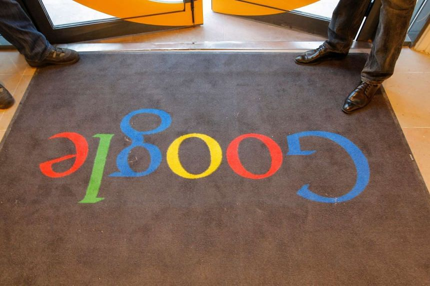 A Google carpet at the entrance of the headquarters of Google France before its official inauguration in Paris on Dec 6, 2011.