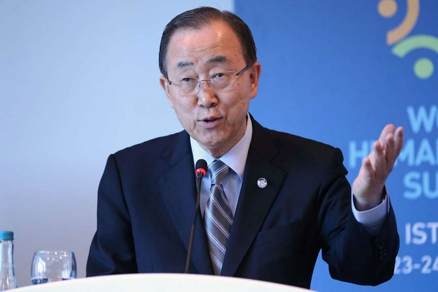 Secretary General of the United Nations Ban Ki Moon speaks on the sidelines of the World Humanitarian Summit in Istanbul, on May 24, 2016.