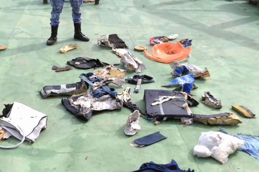 Debris that the search teams found in the sea after the EgyptAir Airbus A320 crashed in the Mediterranean, released by the Egyptian military spokesperson on May 21, 2016.