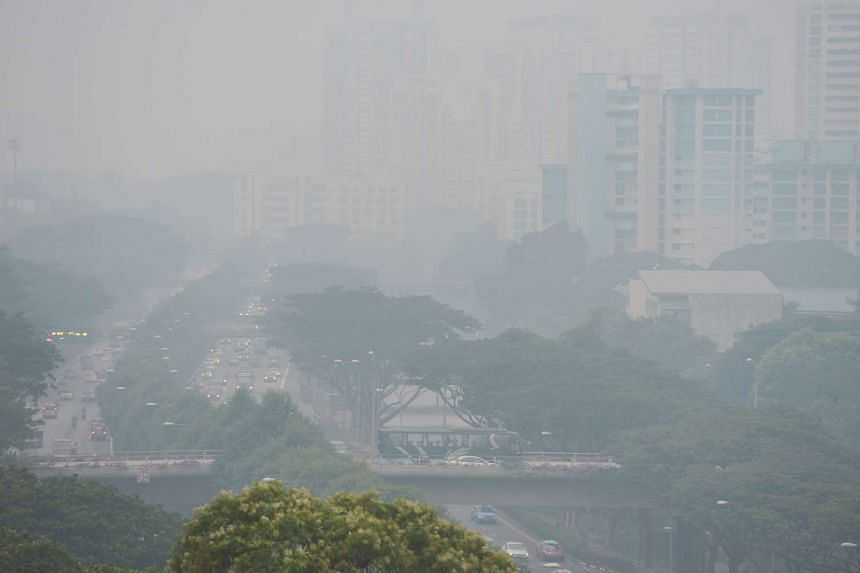 The haze on Sept 10, 2015, obscured the view of the Jalan Toa Payoh stretch of the Pan-Island Expressway.