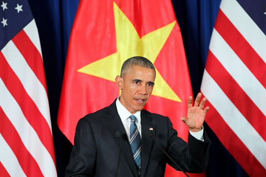US President Barack Obama attends a press conference at the International Convention Centre in Hanoi, Vietnam.