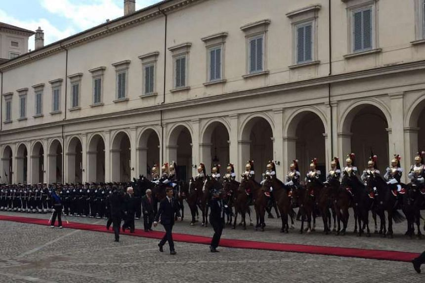 President Tony Tan Keng Yam and Italian President Sergio Mattarella inspect the guard of honour at the Palazzo Del Quirinale in Rome.