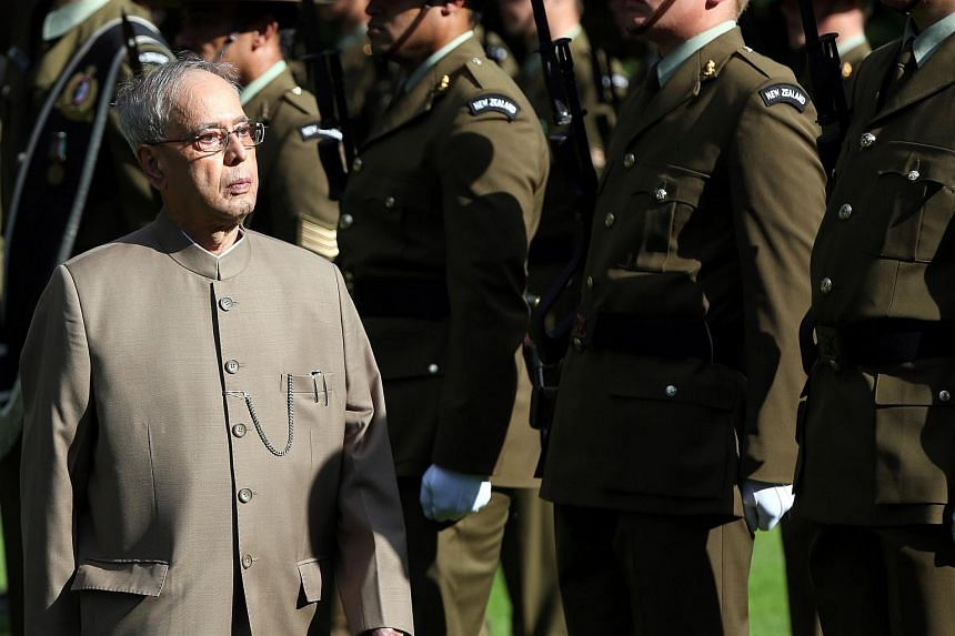 Indian President Pranab Mukherjee receiving an official Maori welcome in Auckland, New Zealand on April 30.