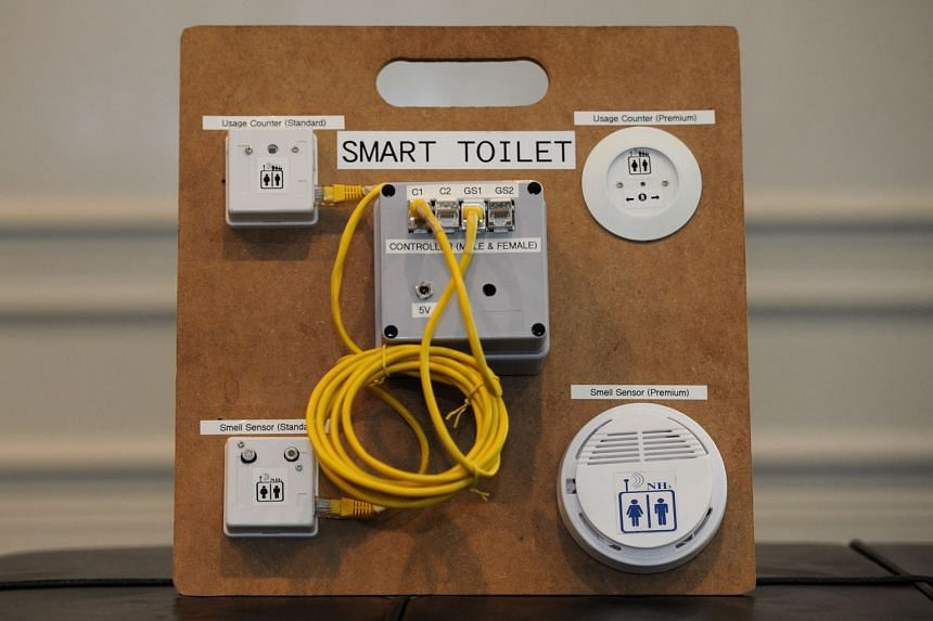 The Restroom Visitilizer System (above) tracks how heavily toilets are used, and has a sensor to measure the odour levels of things like ammonia and hydrogen sulphide. The information is then sent to a portal that can be accessed through laptops and smart