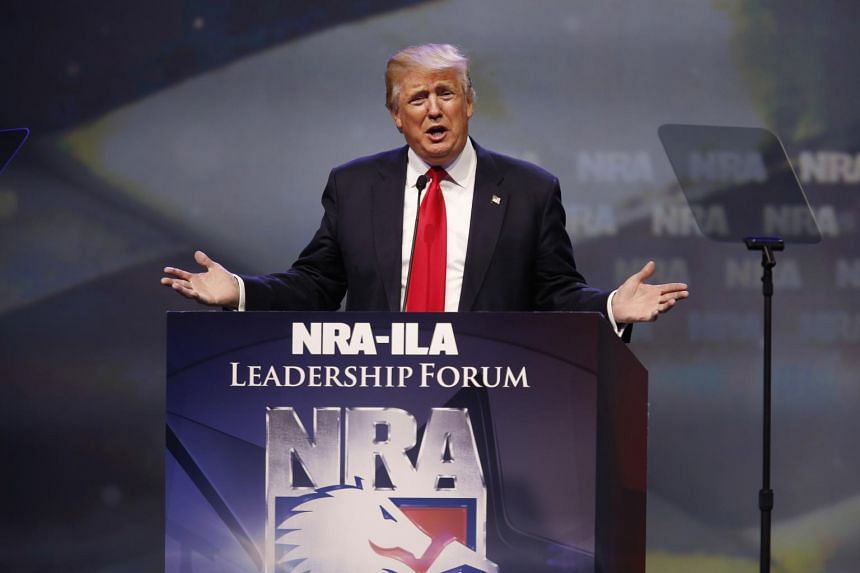 Donald Trump, presumptive Republican presidential nominee, speaks during the National Rifle Association (NRA) annual meeting in Kentucky, US, on May 20.