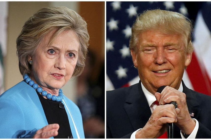 A combination photo shows US Democratic presidential candidate Hillary Clinton (left) and Republican US presidential candidate Donald Trump (right) in California on May 5 and in Oregon on May 6 respectively.
