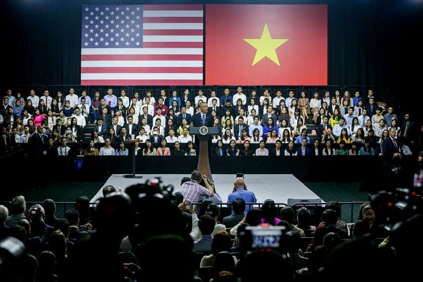 US President Barack Obama talks to Vietnamese youths at the GEM Center in Ho Chi Minh City on May 25, 2016.