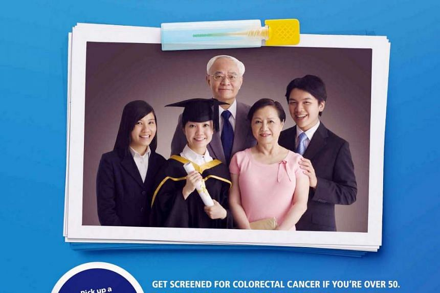 Campaign advertisement on colorectal cancer by the Singapore Cancer Society.