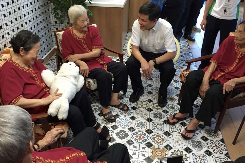 NTUC secretary-general Chan Chun Sing talking to residents at the opening of NTUC Health's first nursing home at Jurong West on May 25, 2016.
