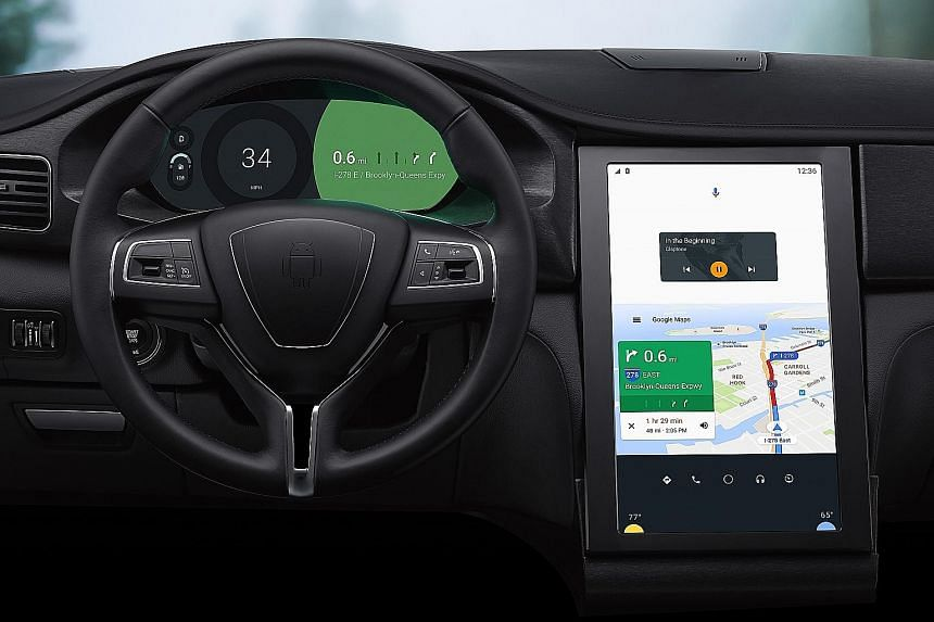 The tech giant's Android N operating system, can power the software of a car (above) to let users get directions, adjust the air-conditioning, or change music tracks with their voice or by tapping on the touchscreen.