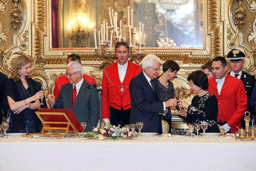 President Tan (second from left) delivered a speech and offered a toast at the state banquet hosted by Italian President Sergio Mattarella (front row, third from left) at the Palazzo del Quirinale in Rome on Monday. With them were Mr Mattarella's dau