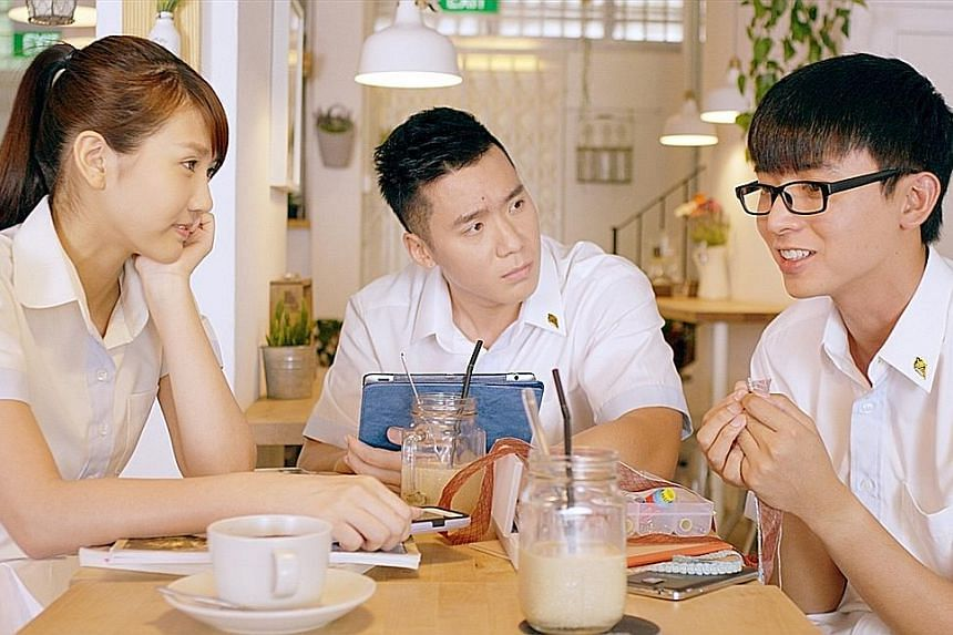 (From left) Joyce Chu, Joshua Tan and Aloysius Pang play students with dreams in Young & Fabulous.