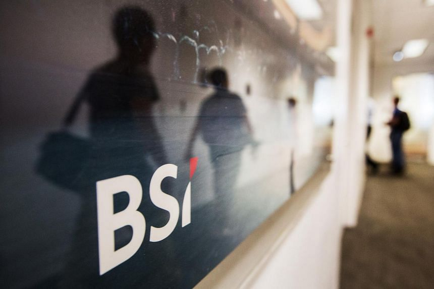 Swiss bank BSI's logo displayed outside its headquarters in Singapore on May 24.
