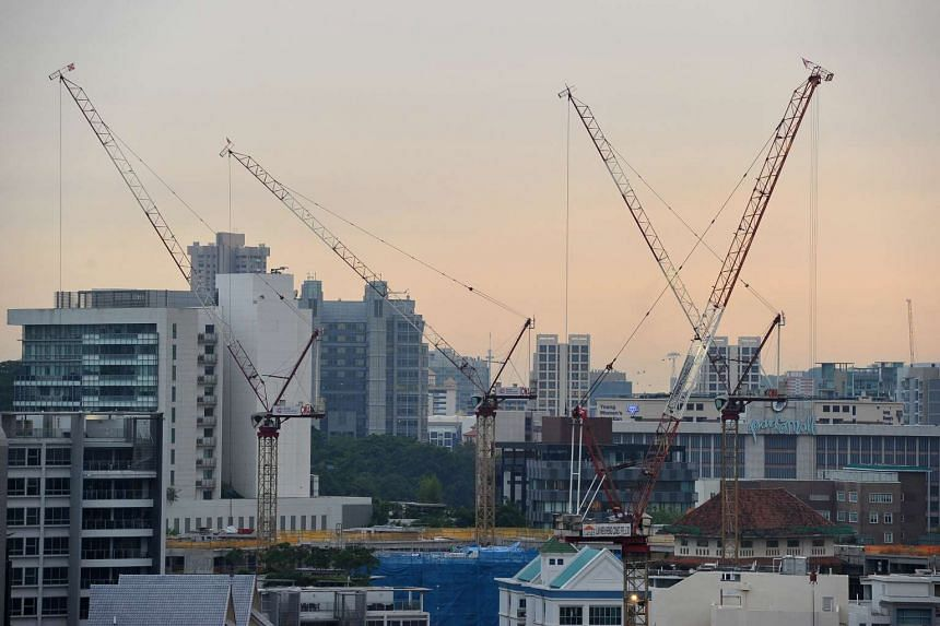 Singapore's skyline filled with construction cranes near Park Mall on May 17.