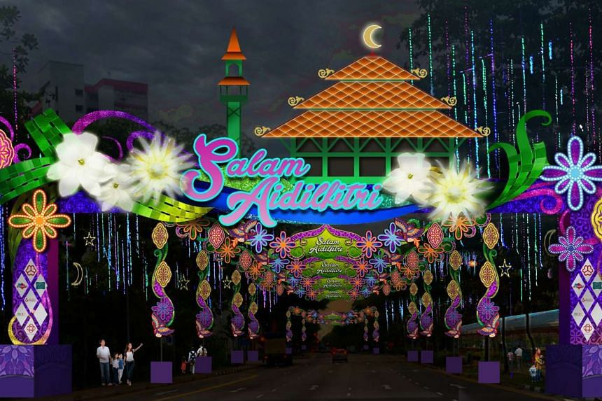 """An artist's impression of the decorations for 2016's Hari Raya light up, under the theme """"Deepening Our Kampung Spirit""""."""