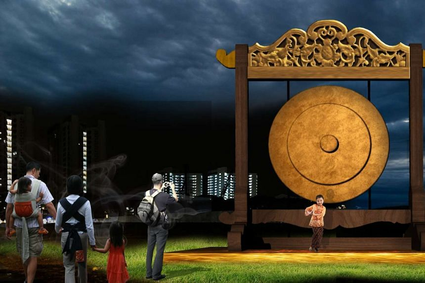 The huge gong which will be part of a series of interactive exhibits at the 2016 Hari Raya light up.